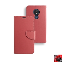 Motorola Moto G7 Power/ Moto G7 Supra /XT1955 Leather Folio Wallet Case WC01 Red