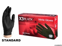 AMMEX X3 Black Industrial Grade Black Nitrile Gloves 100 Case of 1000-Small