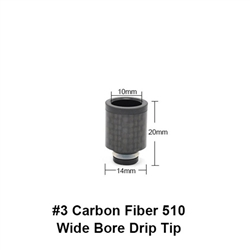 Carbon Fiber #3 510 Wide Bore Drip Tip