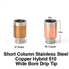 Short Column Stainless Steel Hybrid Wide Bore Drip Tip