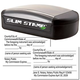 Slim Pre-Inked Acknowledgment Notary Stamp