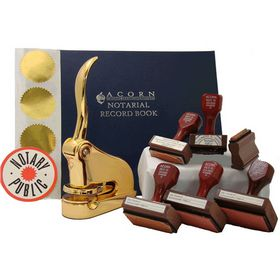 Supreme Gold Gift Notary Seal Package with Hand Stamps