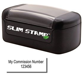 Slim Pre Inked Commission Number Stamp