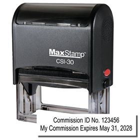 Self Inking Commission Number and Expiration Combo Stamp
