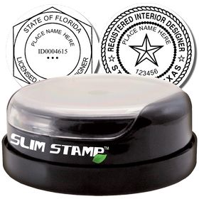Interior Designer Slim Pre Inked Rubber Stamp of Seal