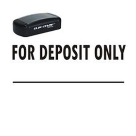 Slim Pre-Inked For Deposit Only Rubber Stamp (Large)