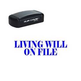 Slim Pre-Inked Living Will On File Stamp