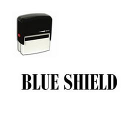 Self Inking Blue Shield Rubber Stamp