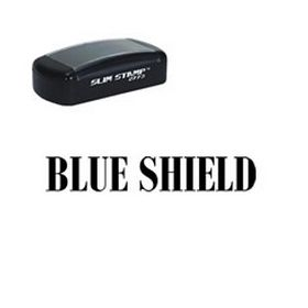 Slim Pre-Inked Blue Shield Stamp
