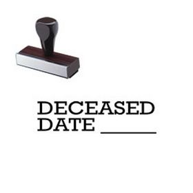 Deceased Date Rubber Stamp