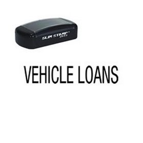 Slim Pre-Inked Vehicle Loans Rubber Stamp