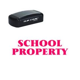 Slim Pre-Inked School Property Rubber Stamp