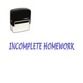 Self Inking Incomplete Homework Rubber Stamp