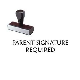 Regular Parent Signature Required Rubber Stamp