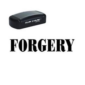 Slim Pre-Inked Forgery Rubber Stamp (Large)