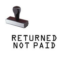 Returned Not Paid Rubber Stamp