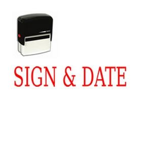 Large Self Inking Sign & Date Rubber Stamp