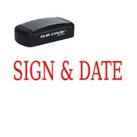 Large Slim Pre-Inked Sign & Date Rubber Stamp