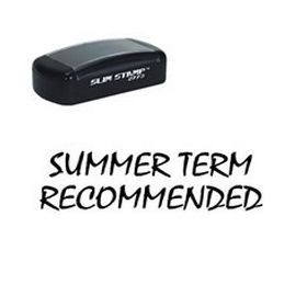 Large Slim Pre-Inked Summer Term Recommended Rubber Stamp