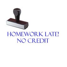 Homework Late No Credit Rubber Stamp