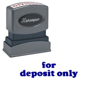 Bold Blue For Deposit Only Xstamper Stock Stamp