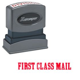 Bold Red First Class Mail Xstamper Stock Stamp