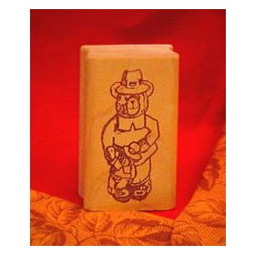 Boy Bear Pilgrim Art Rubber Stamp