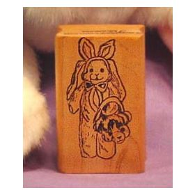 Bunny in Costume with Basket Art Rubber Stamp