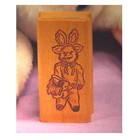 Pig in Costume with Basket Art Rubber Stamp