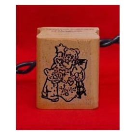 Bears with Christmas Tree Art Rubber Stamp