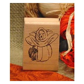 Pig in Pumpkin Costume Art Rubber Stamp