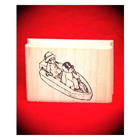 Bears in Boat Art Rubber Stamp