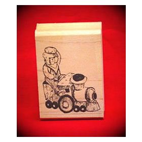 Bear Train Engineer Art Rubber Stamp