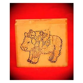 Bear Riding Pig Art Rubber Stamp
