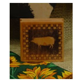 Pig Block with Checked Border Art Rubber Stamp