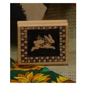 Rabbit Block with Checked Border Art Rubber Stamp