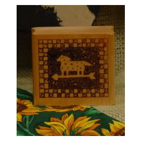 Horse Weathervane Checked Border Art Rubber Stamp