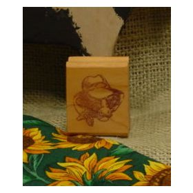 Cow in Hat Art Rubber Stamp