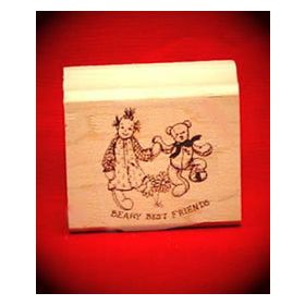 Beary Best Friends Art Rubber Stamp