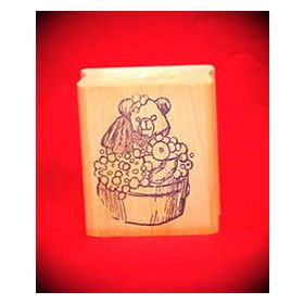 Bear in Wash Bucket Art Rubber Stamp