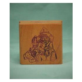Bear Fireman with Dog Art Rubber Stamp