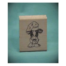 Cow Chef Art Rubber Stamp
