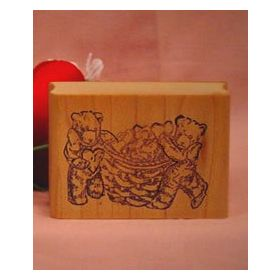 Bears with Basket of Hearts Art Rubber Stamp