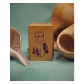 Bear with Inner tube Art Rubber Stamp