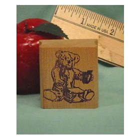 Bear with Lunch Box Art Rubber Stamp