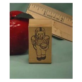 Football Bear Art Rubber Stamp