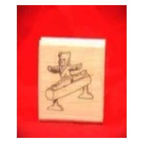 Bear on Exercise Equipment Art Rubber Stamp