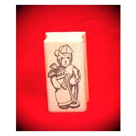 Golf Bear Art Rubber Stamp