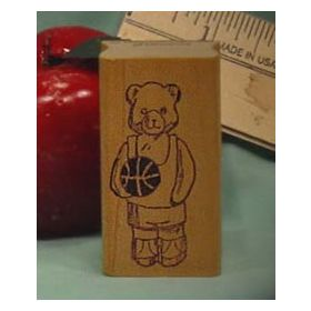 Basketball Bear Art Rubber Stamp
