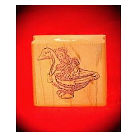 Bear Riding Duck Art Rubber Stamp